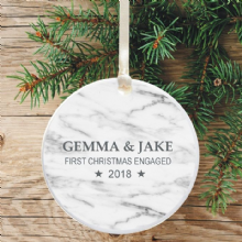 First Christmas Engaged Keepsake Decoration - Grey Marble Design